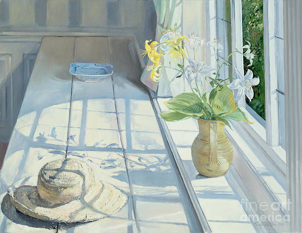 Window Painting - Lilies And A Straw Hat by Timothy Easton