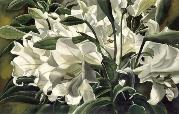 Painting - Lilies At Night by Alfred Ng