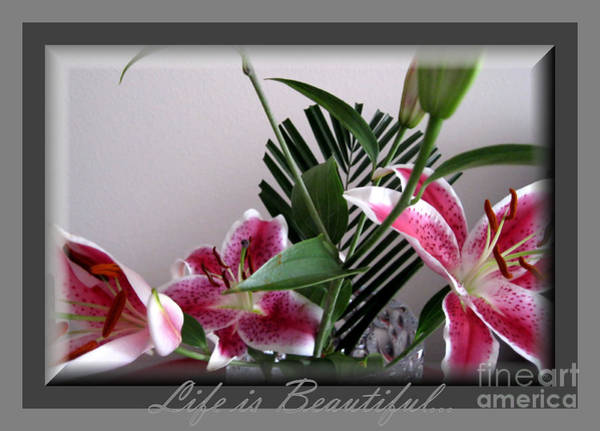 Pyrography - Life Is Beautiful... Lilies Bouquet  by Oksana Semenchenko