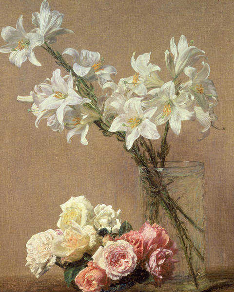 Annenberg Painting - Lilies In A Vase by Ignace Henri Jean Fantin-Latour