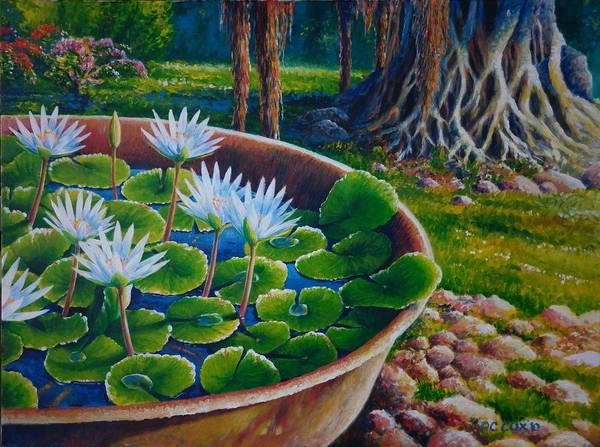 Painting - Lilies In Platin by Christopher Cox