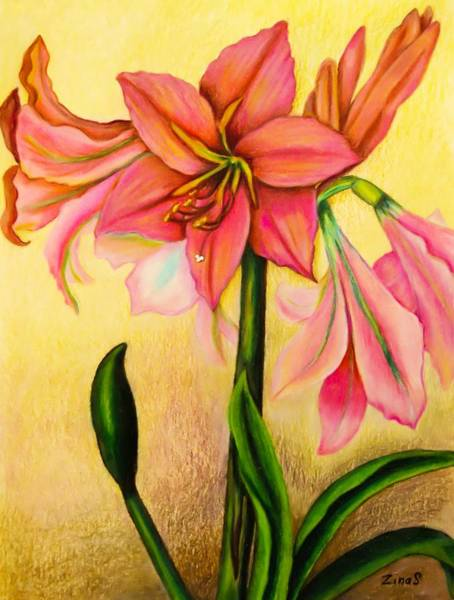 Garden Wall Drawing - Lilies by Zina Stromberg