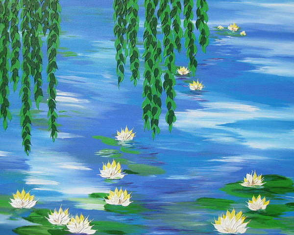 Lilly Pad Painting - Lillies 2 by Cathy Jacobs