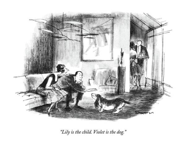 Pet Drawing - Lily Is The Child. Violet Is The Dog by Charles Saxon