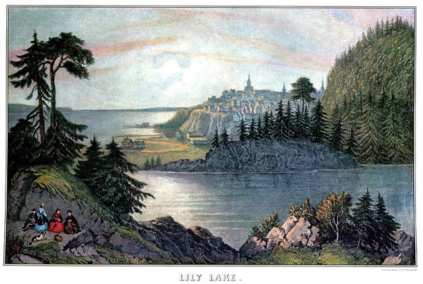 Currier And Ives Painting - Lily Lake - St. John, New Brunswick by Vintage Images