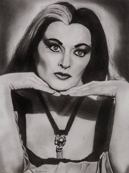 Lily Drawing - Lily Munster by Brian Broadway