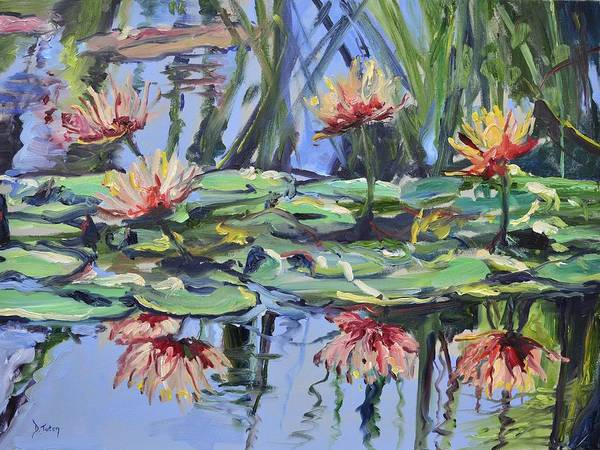 Wall Art - Painting - Lily Pond Reflections by Donna Tuten
