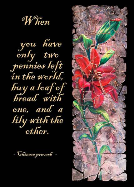 Painting - Lily Quote by OLena Art - Lena Owens