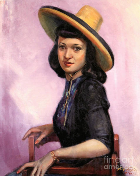 Painting - Lily Wearing Sombrero 1941 by Art By Tolpo Collection