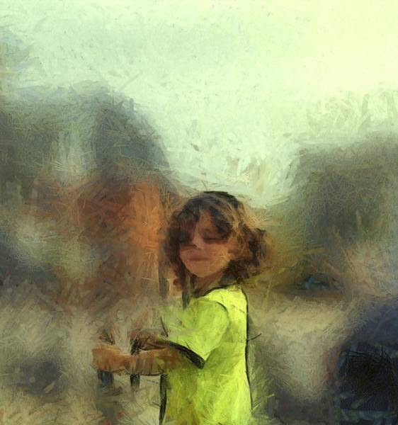 Impressionistic Landscape Drawing - Lime Chalk Figure Little Boy Custom Portrait Commission by MendyZ