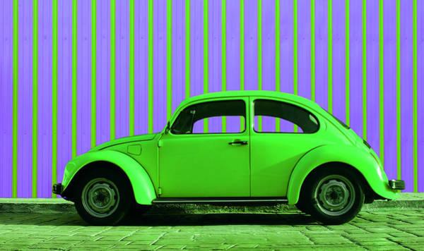 Vw Bug Photograph - Lime Green Bug by Laura Fasulo