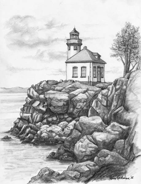 Drawing - Lime Kiln Lighthouse by Kim Lockman