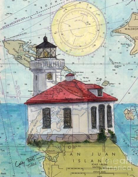 Wall Art - Painting - Lime Kiln Lighthouse Wa Nautical Chart Map Art Cathy Peek by Cathy Peek