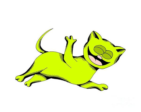 Drawing - Limelight Cat Laughing by Pet Serrano