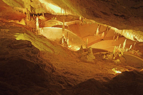 Stalagmite Photograph - Limestone Caves With Stalactites & by Rosemary Calvert