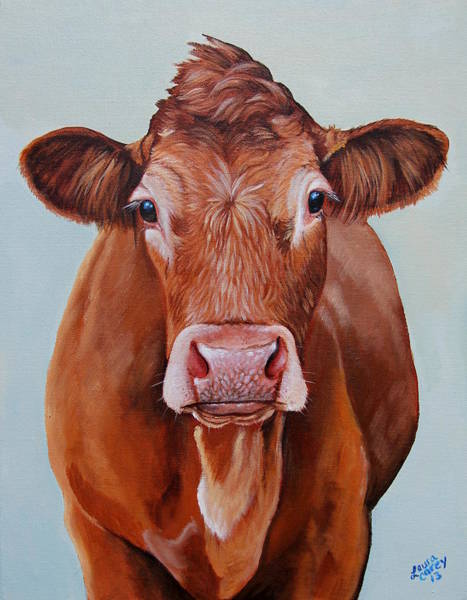 Hereford Bull Painting - Limo Girl by Laura Carey
