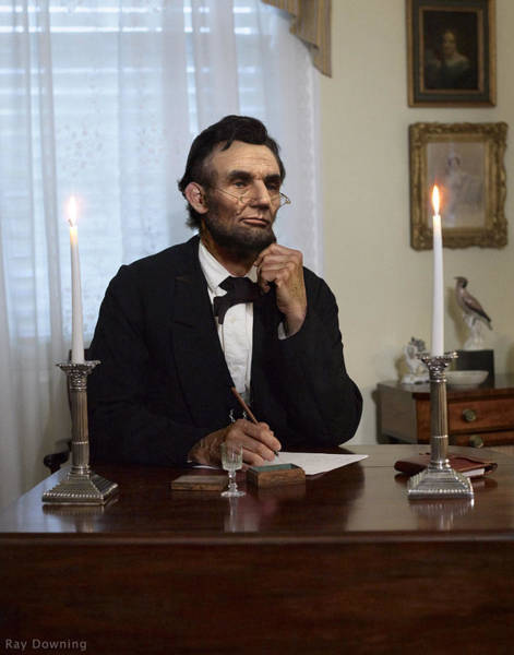 Lincoln Digital Art - Lincoln At His Desk 2 by Ray Downing