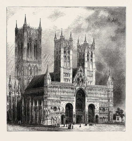 Wall Art - Drawing - Lincoln Cathedral, Uk. Lincoln Cathedral In Full by English School