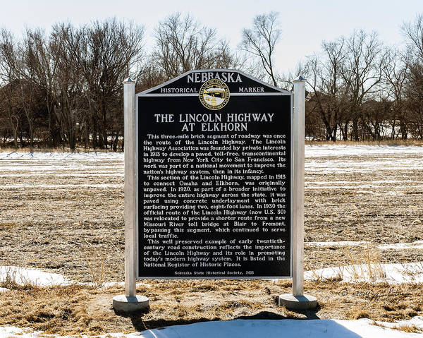 Photograph - Lincoln Highway Historical Marker Elkhorn by Edward Peterson