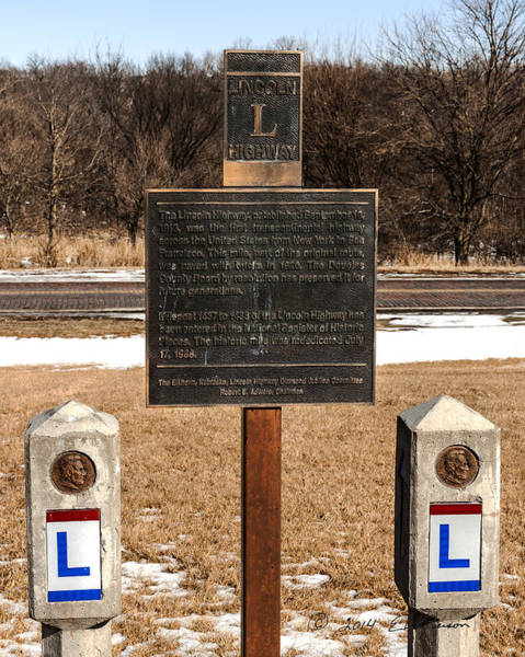 Photograph - Lincoln Highway Marker by Edward Peterson