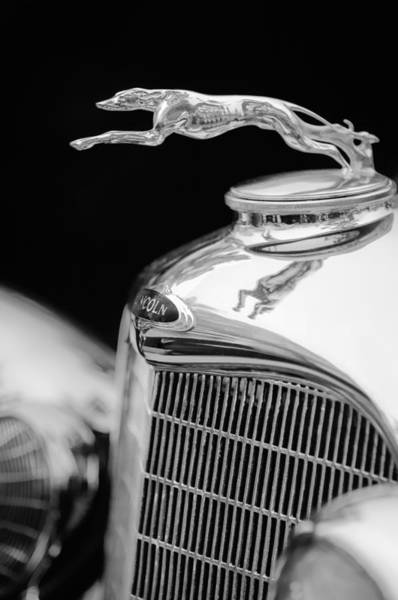 Photograph - Lincoln Hood Ornament - Grille Emblem -1187bw by Jill Reger