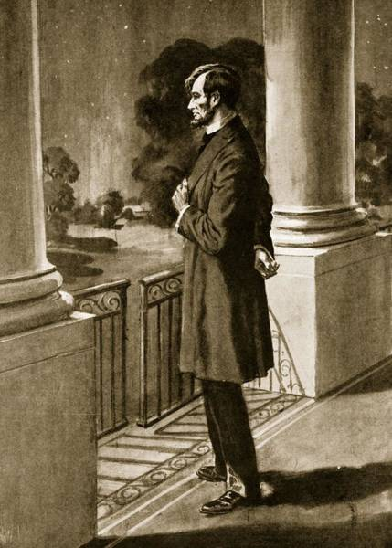 Sixteenth Wall Art - Drawing - Lincoln Looks Out From The White House by American School