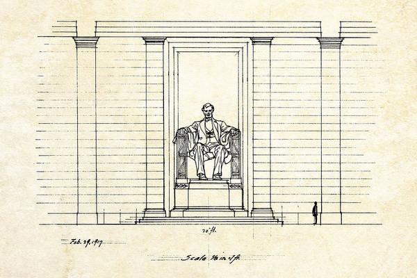 Lincoln Digital Art - Lincoln Memorial Sketch by Gary Bodnar