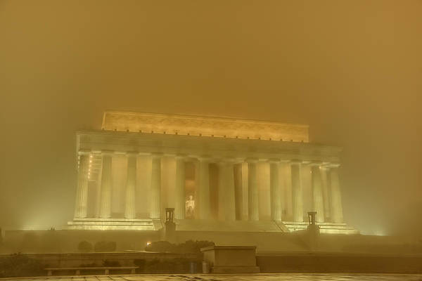Photograph - Lincoln Memorial In The Fog by Metro DC Photography