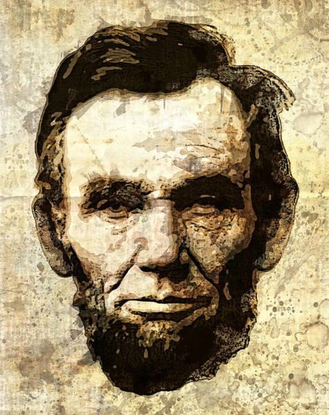 Wall Art - Digital Art - Lincoln Sepia Grunge by Daniel Hagerman