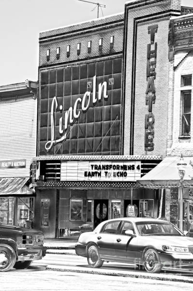Photograph - Lincoln Theatre Fayetteville Tennessee Bw by Lesa Fine