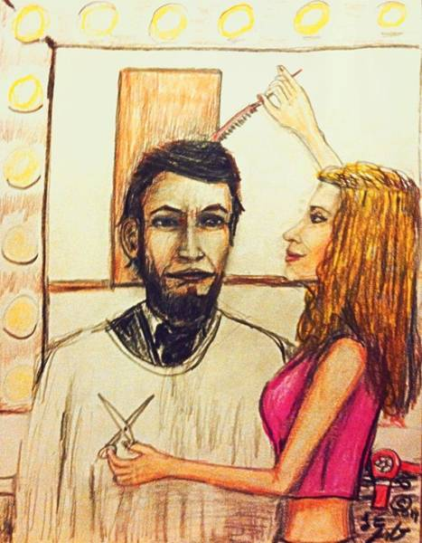 Abe Lincoln Drawing - Lincoln's New Barber by Larry E  Lamb
