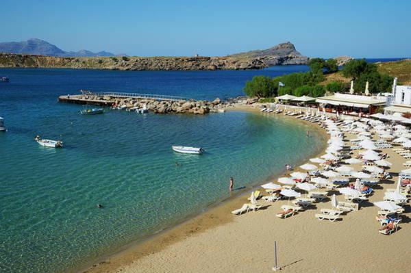Dodecanese Photograph - Lindos Beach, Lindos, Rhodes by Tuul / Robertharding