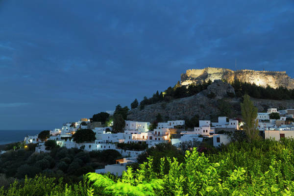 Dodecanese Photograph - Lindos Town And The Acropolis At Night by Martin Child