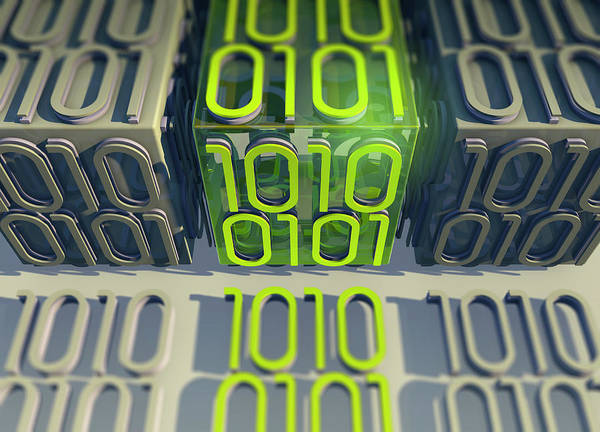 Wall Art - Photograph - Line Of Bright Binary Code Data by Ikon Images