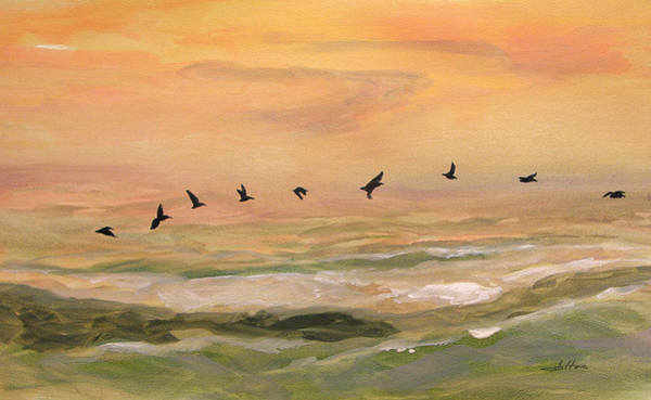 Painting - Line Of Pelicans by Julianne Felton