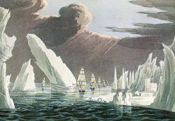 Wall Art - Photograph - Line Of Ships Sailing Through A Passage In The Ice by George Bernard/science Photo Library