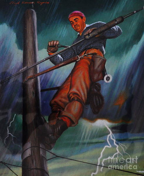 Art Print featuring the photograph Lineman In Storm by Andrea Kollo