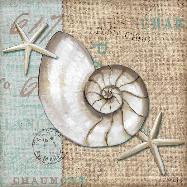 Nautilus Wall Art - Painting - Linen Shells IIi by Paul Brent