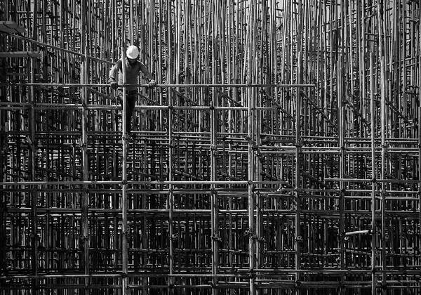 Scaffold Photograph - Lines by Navid Mofidi
