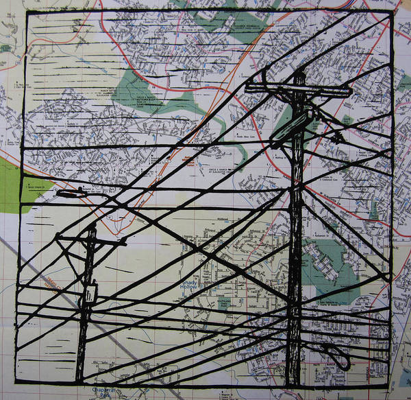Drawing - Lines On Map by William Cauthern