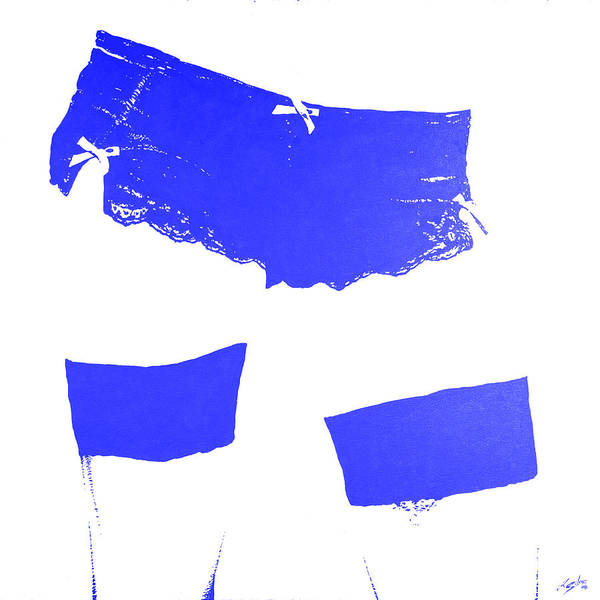 Wall Art - Painting - Lingerie Iv Blue by John Silver