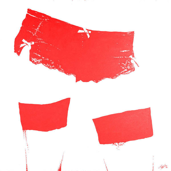 Wall Art - Painting - Lingerie Iv Red by John Silver