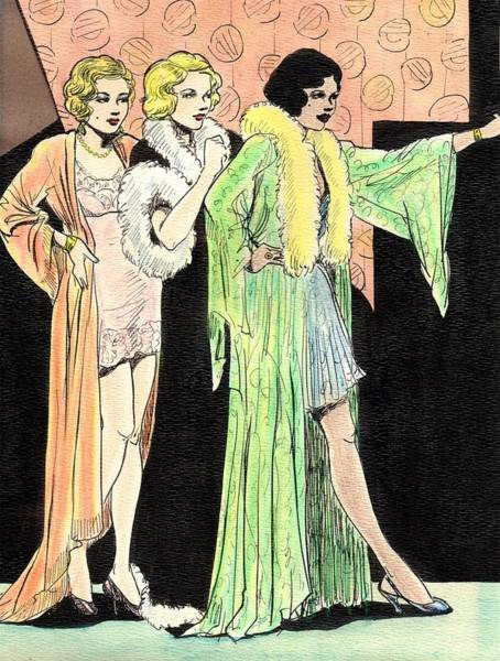 Fashion Plate Painting - Lingerie Ladies by Mel Thompson