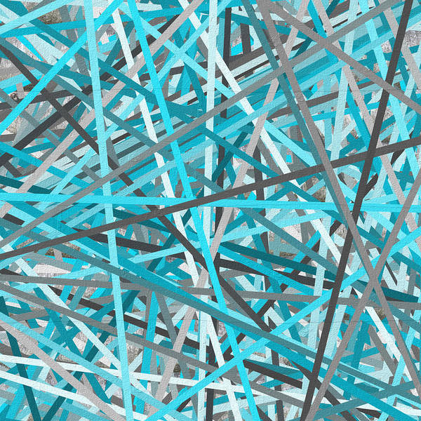 Link - Turquoise And Gray Abstract Art Print