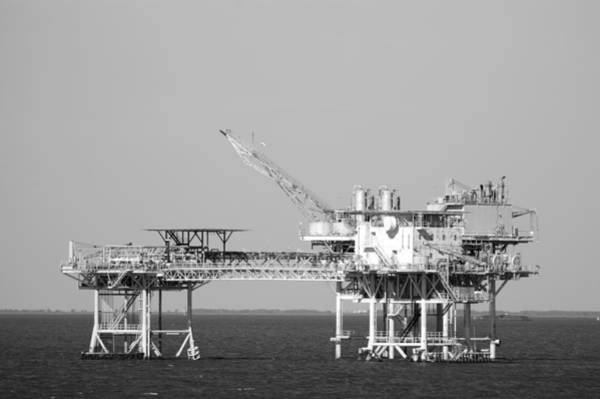 Photograph - Linked Oil Platforms Bandw by Bradford Martin