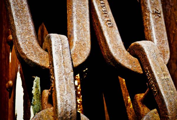 Rusty Chain Wall Art - Photograph - Linked Up by Christi Kraft