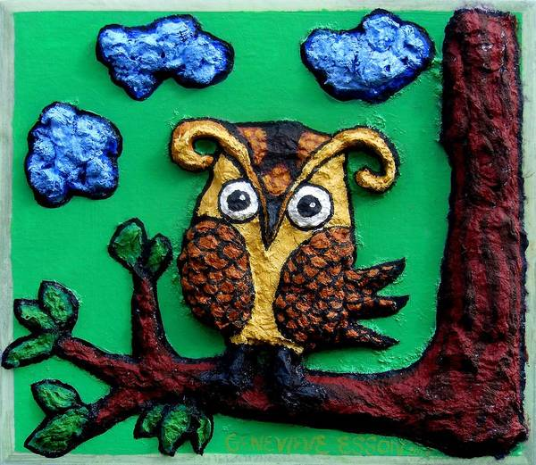 Wallpaper Mixed Media - Lint Owl Detail by Genevieve Esson
