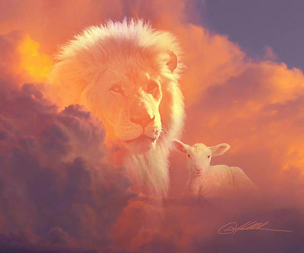 Wall Art - Painting - Lion And The Lamb by Danny Hahlbohm