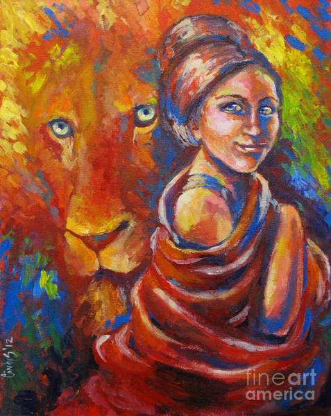 Wall Art - Painting - Lion Covering by Tamer and Cindy Elsharouni