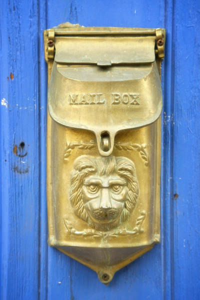 Wall Art - Photograph - Lion Faced Antique Mailbox On Blue In Salida Colorado by Mary Lee Dereske